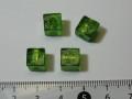 ベネチアン風ガラス キューブ 約8×8mm 緑色(オリーブ)