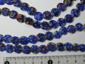 ベネチアン風ガラス 連売り品コイン型 約10mm (1連) 紺色系カラー