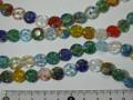 ベネチアン風ガラス 連売り品コイン型 約10mm (1連) アソートミックスカラー