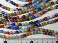 ベネチアン風ガラス 連売り品丸型 約6mm (1連約37cm) アソートミックスカラー