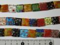 ベネチアン風ガラス 連売り品正方型 約14mm (1連約38cm) アソートミックスカラー