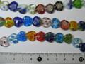 ベネチアン風ガラス 連売り品ハート型 約12mm (1連約36cm) アソートミックスカラー