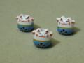 陶器ビーズ ネコ 約14mm×13mm 水色
