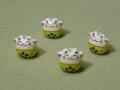 陶器ビーズ ネコ 約14mm×13mm 黄色