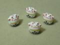陶器ビーズ ネコ 約14mm×13mm 白