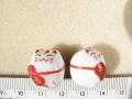 陶器ビーズ 白ネコ 約16mm×16mm 大吉