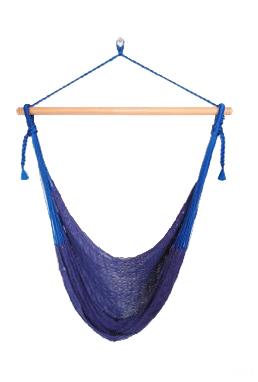 メキシカンチェアハンモック(ネットタイプ)  ラージ ブルー 飾りなし