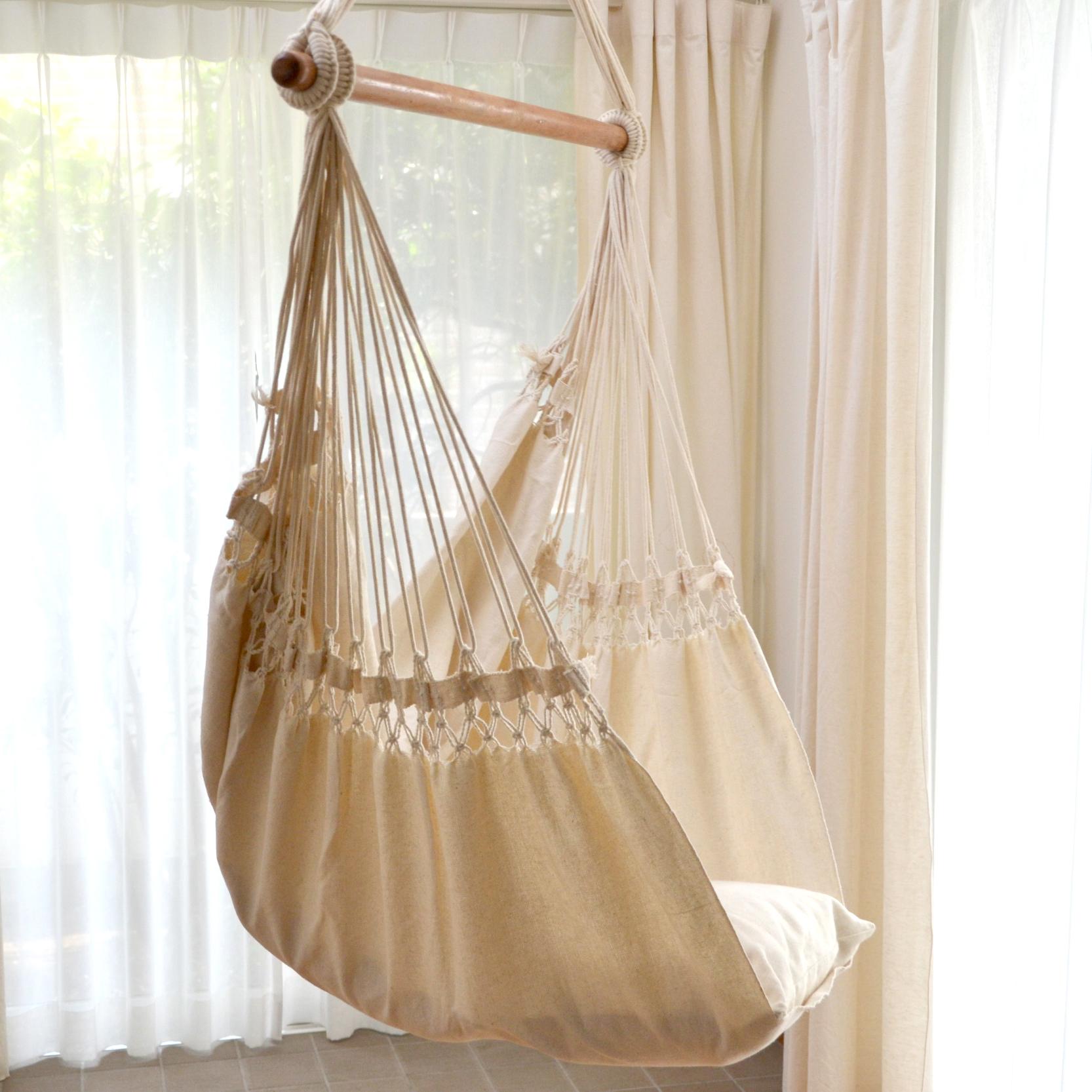 ブラジリアンチェアハンモック(布タイプ) オフホワイト・マクラメ編み