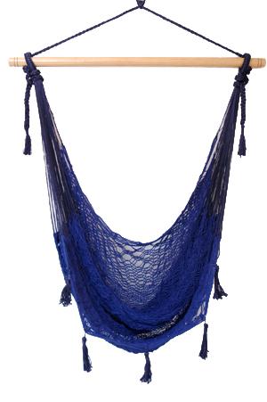 メキシカンチェアハンモック(ネットタイプ) ラージ  ブルー 縁飾りあり