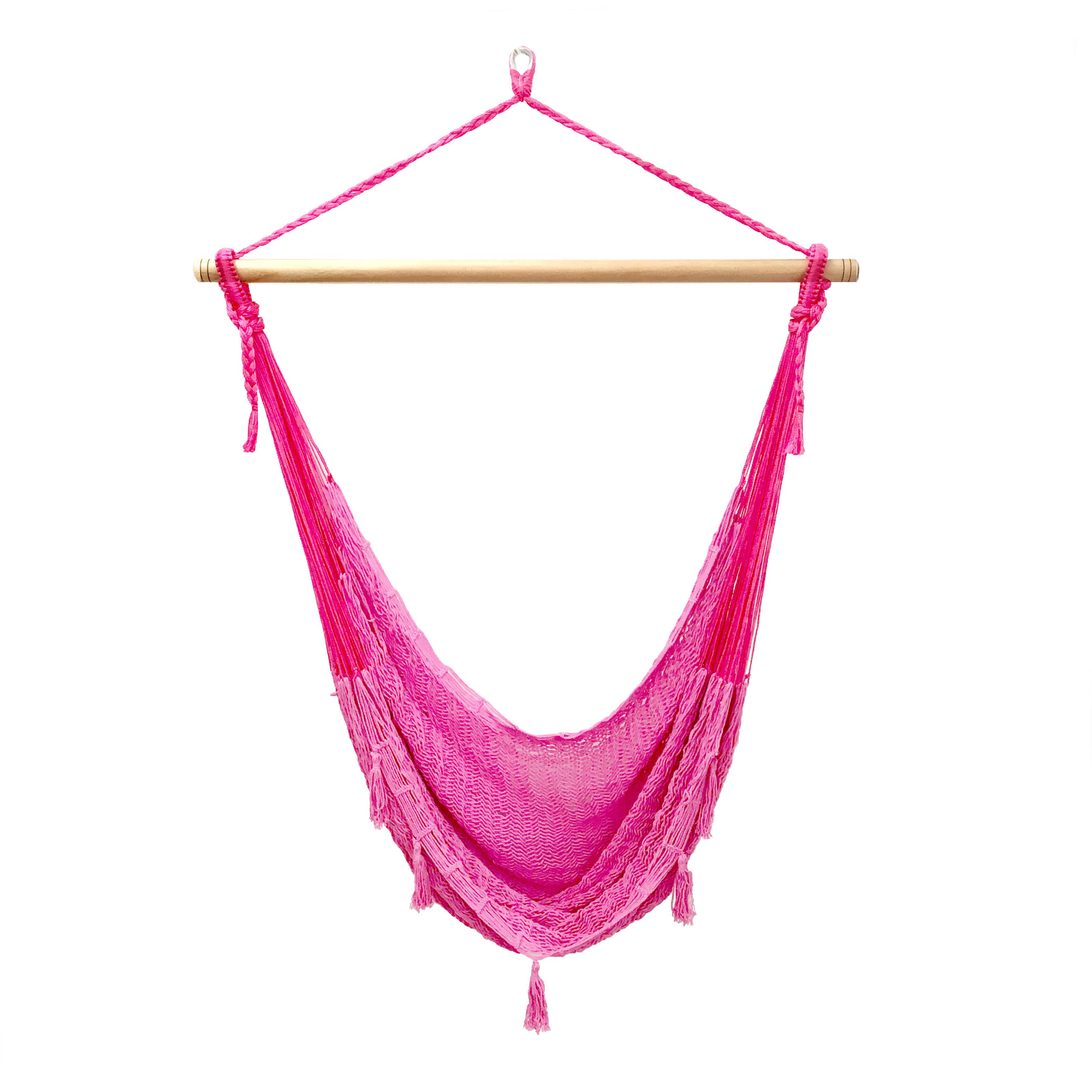メキシカンチェアハンモック(ネットタイプ)  ラージ ピンク 縁飾りあり・セール中