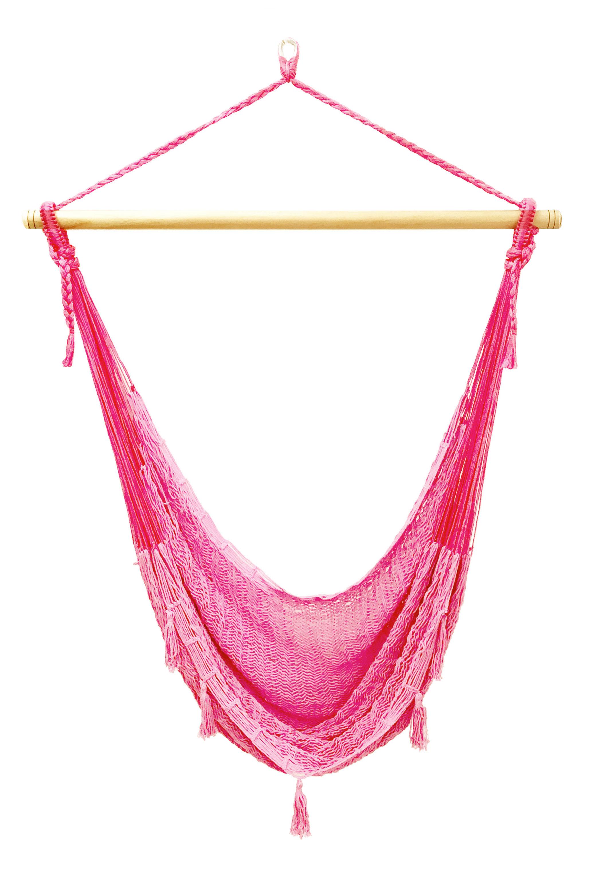 メキシカンチェアハンモック(ネット)ラージ 「ピンク」(縁飾り付)
