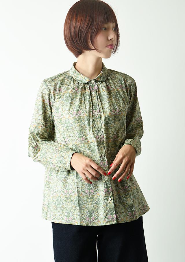 【2020】リバティ丸衿バックギャザーシャツ【2032034】【27】
