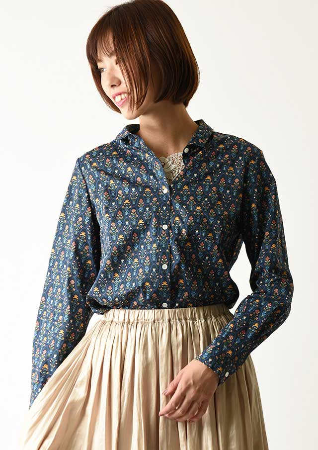 ◆リバティちび衿バックヨークギャザーシャツ【2033017】【27】