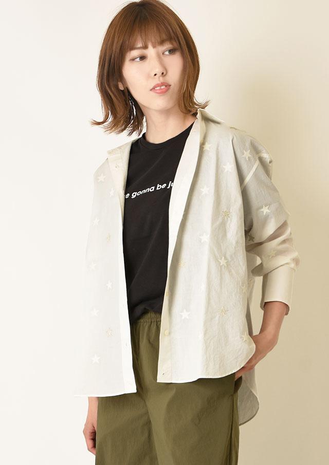 ◆コットンスター刺繍シャツ【3211-117】【26】