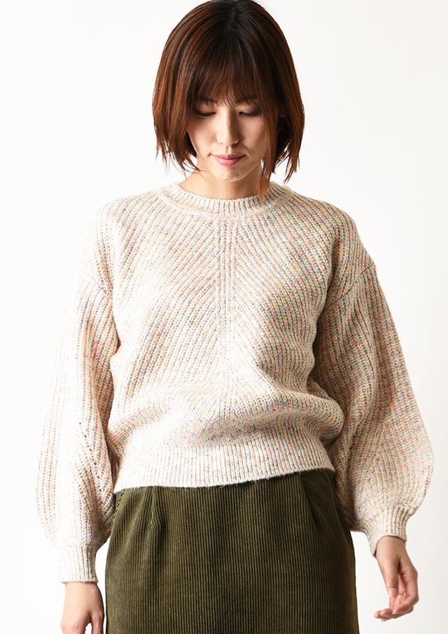 ◇◆MIXヤーンボリュームスリーブプルオーバーニット【6208-420】【26】
