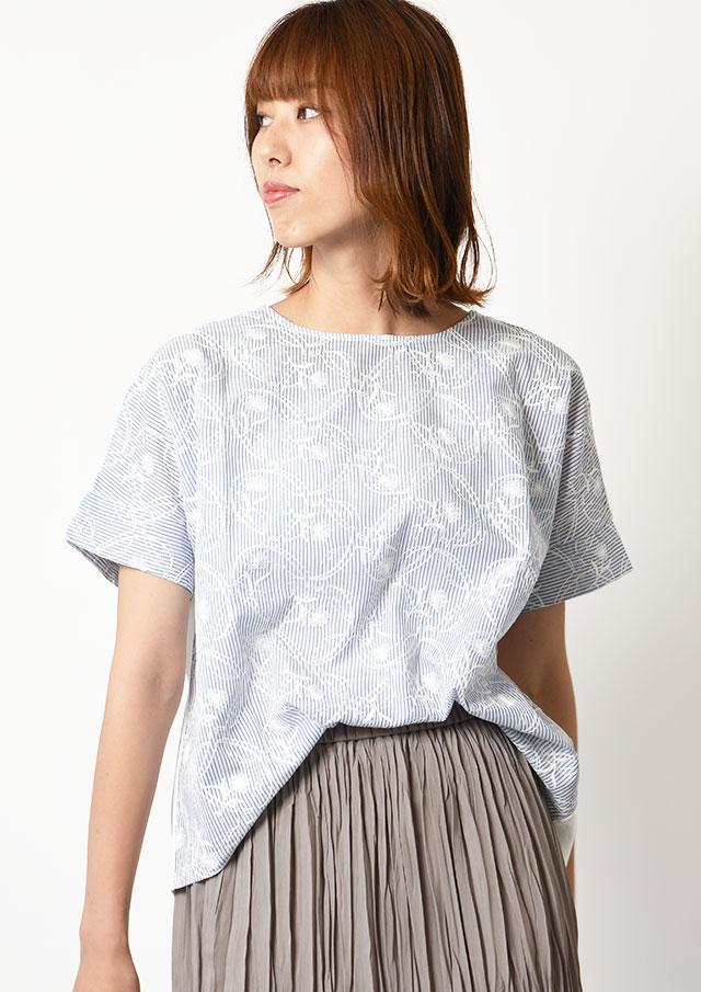 ◆フロントストライプフラワー刺繍プルオーバーカットソー【H12UT961】【27】