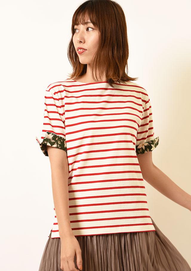 ◆コットン天竺ボーダーリバティ使いプルオーバーTシャツ【H1M011211】【26】