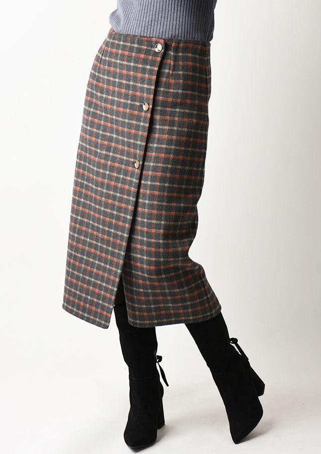 ◆チェックリバーシブルラップスカート【H2029112】【80】