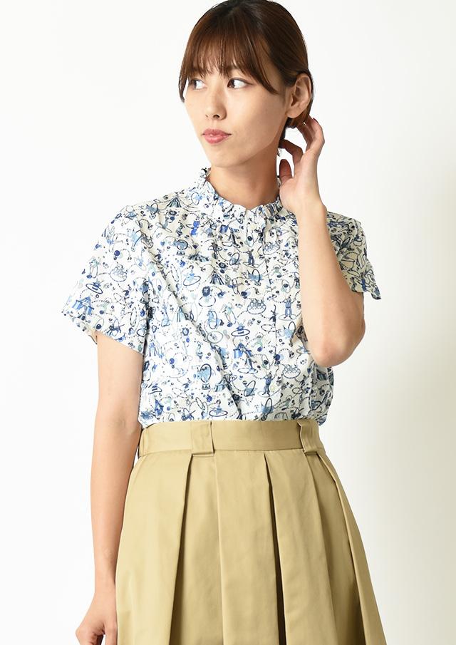 ◆リバティフリルネック半袖シャツ【H2122525】【27】