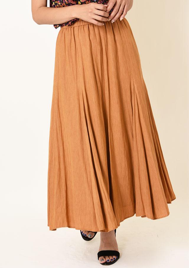 ◆杢調割繊ギャザーフレアロングスカート【H6496】【26】