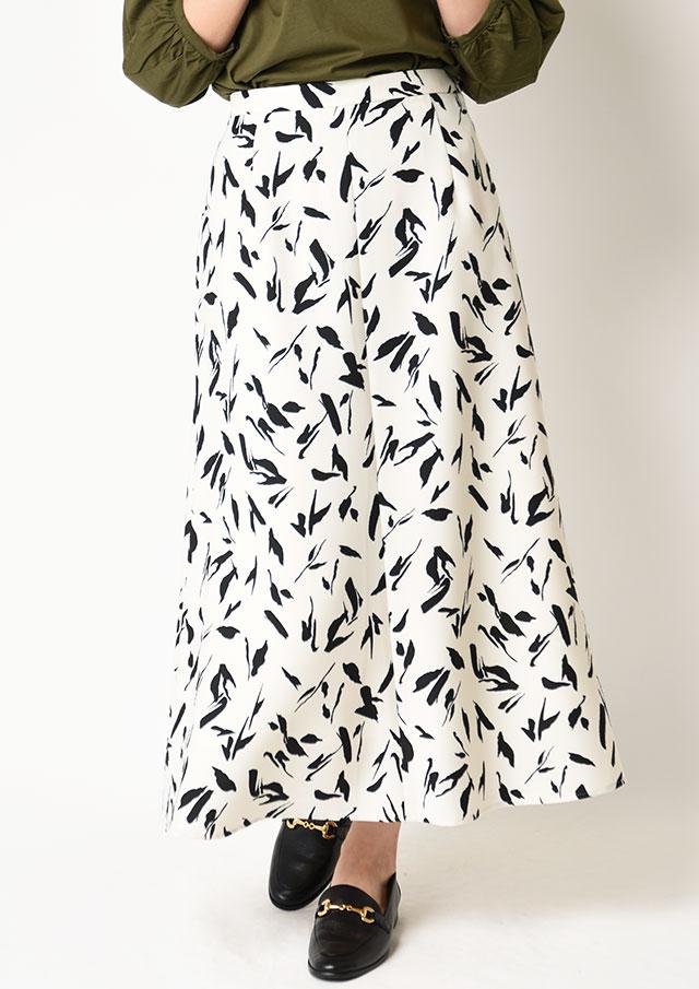 ◆カルゼ織り単色プリントフレアロングスカート【H6510】【26】