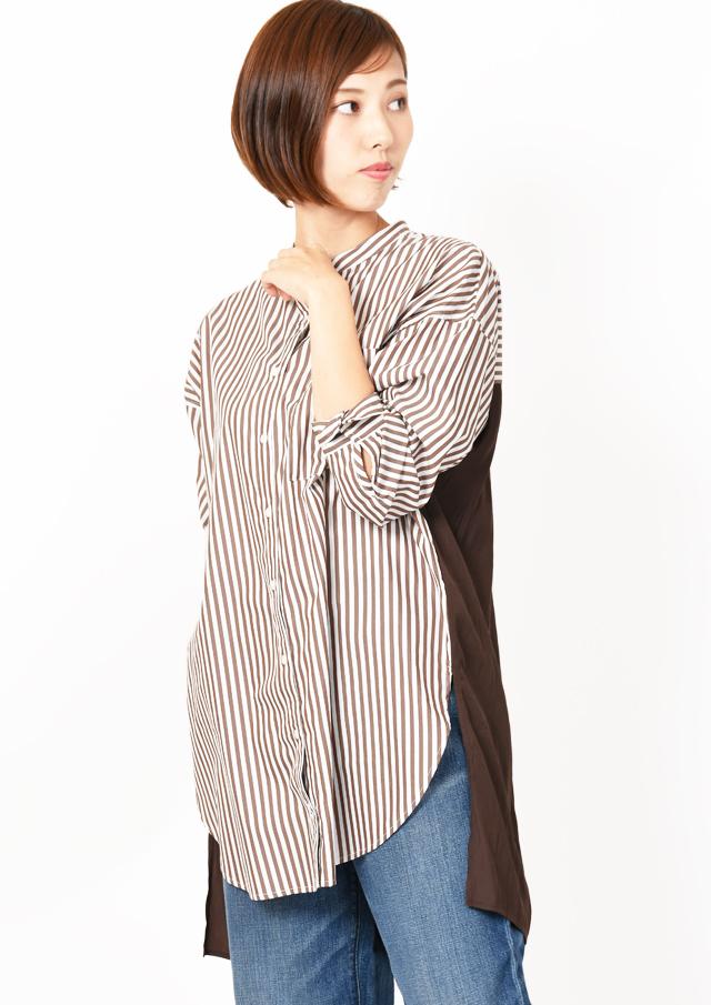 【2019】バンドカラーバック異素材切替ビッグシャツ【H8293335】【26】