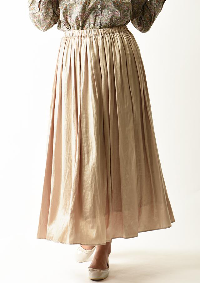 ◆レザーサテンギャザーロングスカート【H896155】【26】