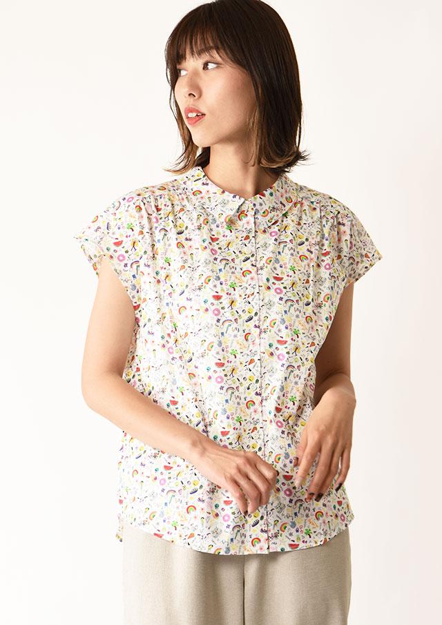◆リバティフレンチスリーブヨークタックシャツ【HB051008】【26】