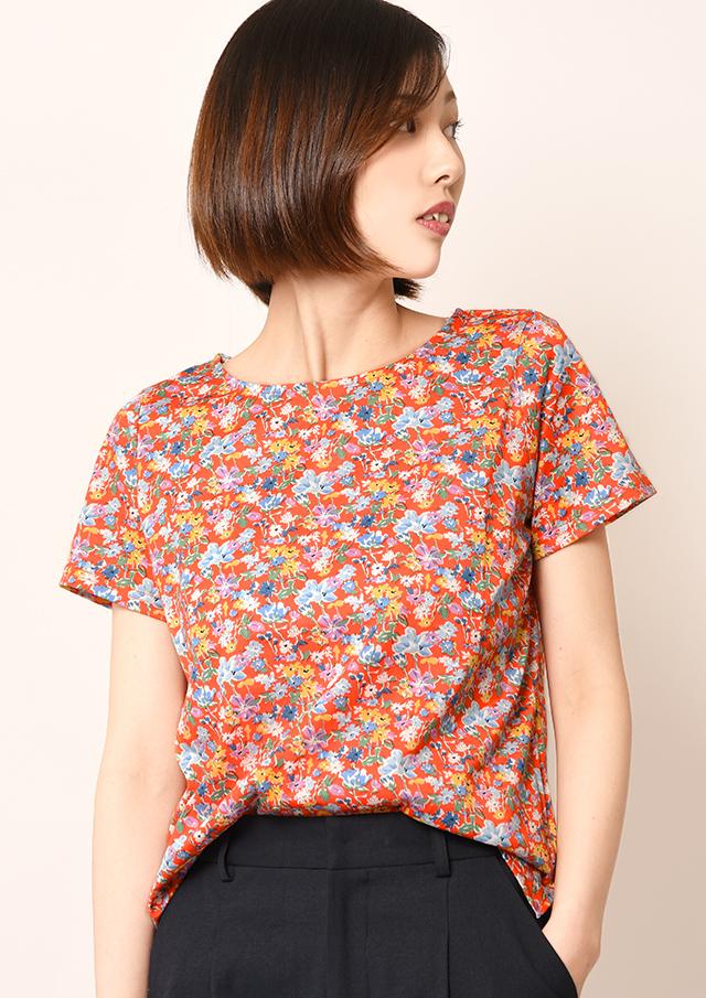 【2019】リバティ天竺クルーネックTシャツ【HB079004】【26】