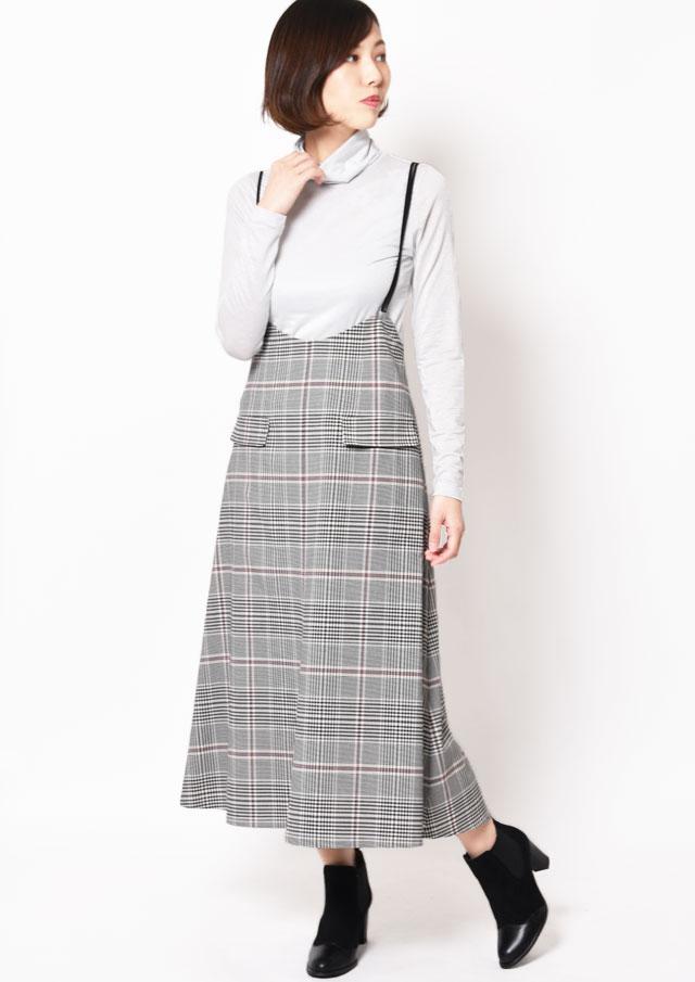 SALE!!【2019】チェック柄ストラップ付きロングフレアスカート【HB089000】【26】