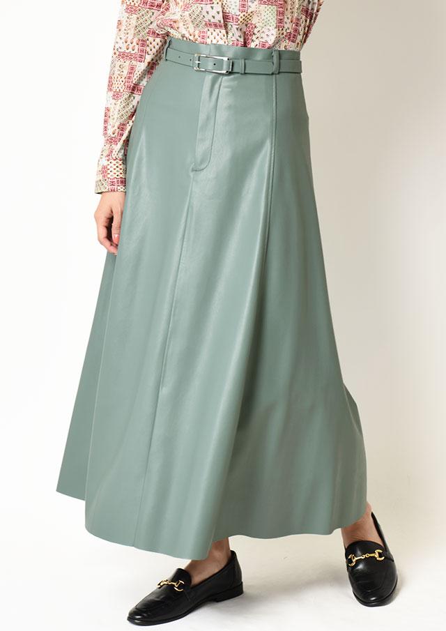 ◆フェイクレザーベルト付きスカート【HJ4144】【26】