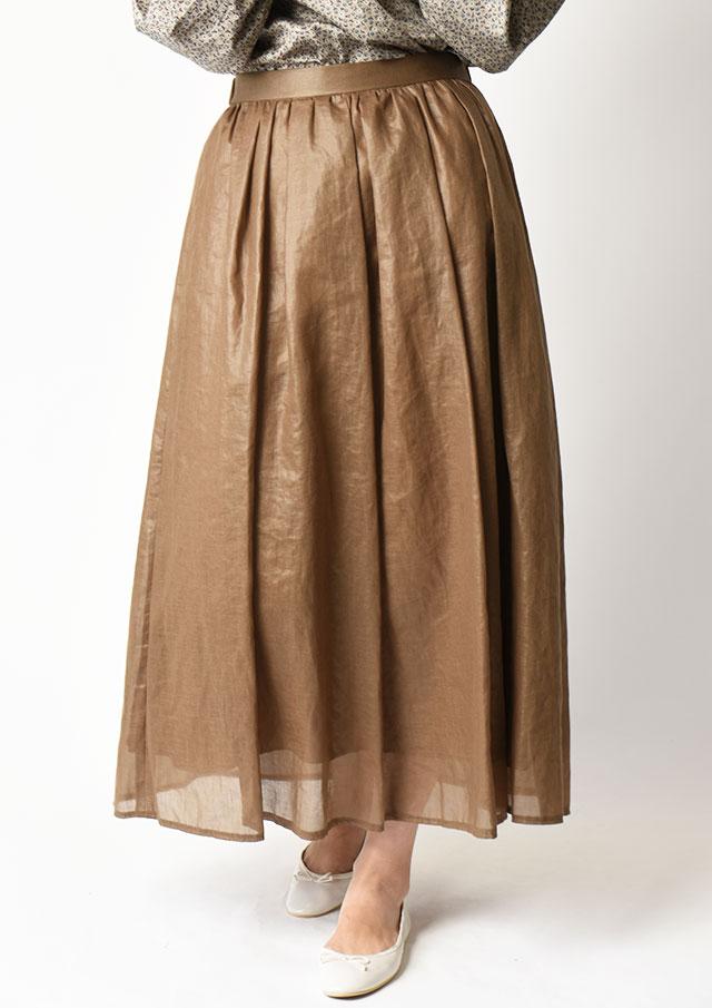 ◆レザーライクボイルタックギャザースカート【HU2210】【61】