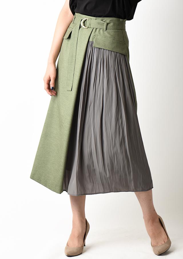 【2020】異素材ベルト付きフレアスカート【HU2920】【26】