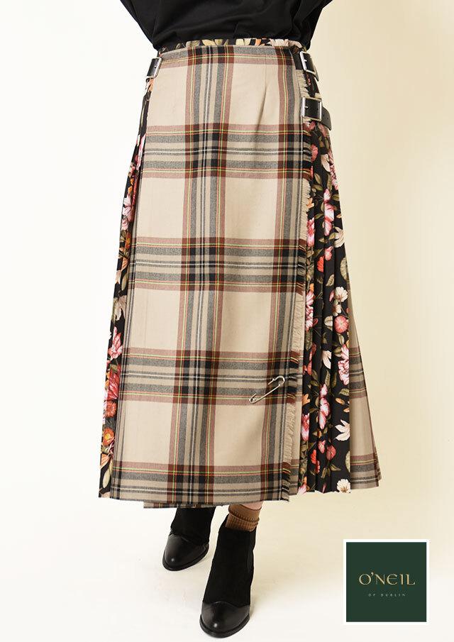 ◆ONeil_of_Dublin|オニール・オブ・ダブリン|配色リバティキルトスカート【124I81】【26】
