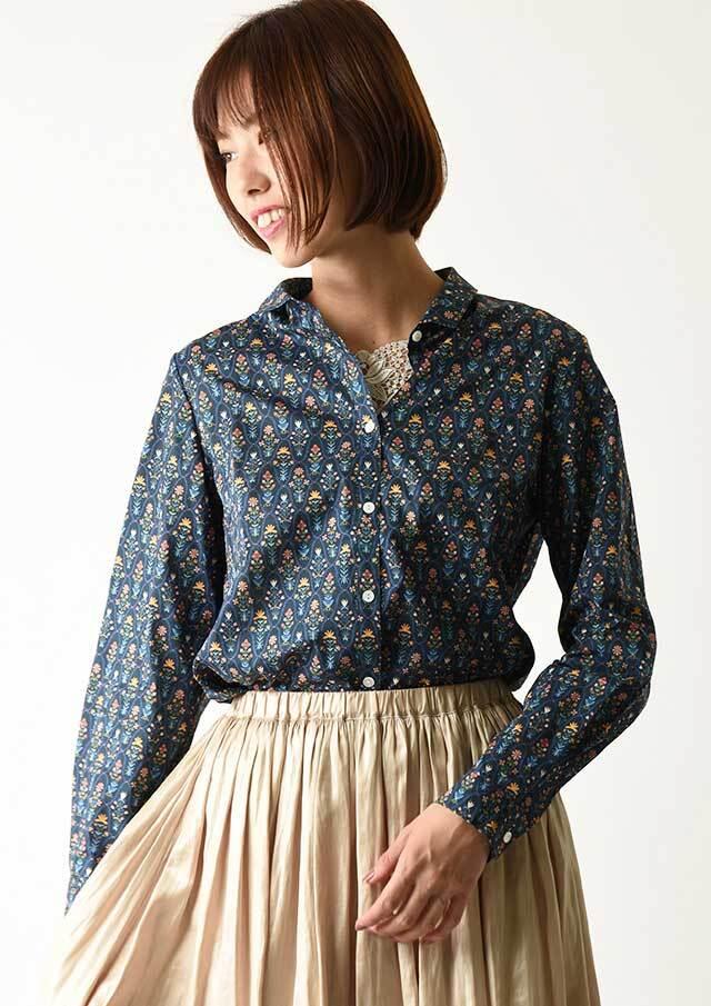 ◇◆リバティちび衿バックヨークギャザーシャツ【2033017】【27】