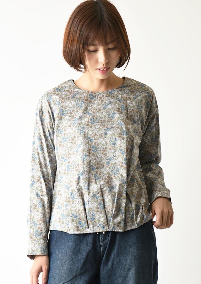 ◆リバティ裾タッククルーネックプルオーバーブラウス【2033018】【27】