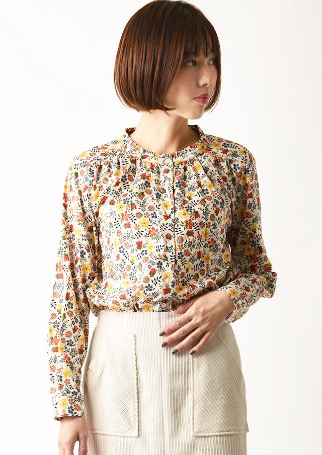 ◆リバティスタンドフリルネックシャツ【2033020】【27】