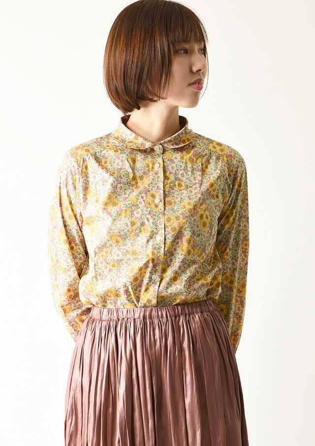 ◆リバティ丸衿ヨークギャザーシャツ【2033021】【27】