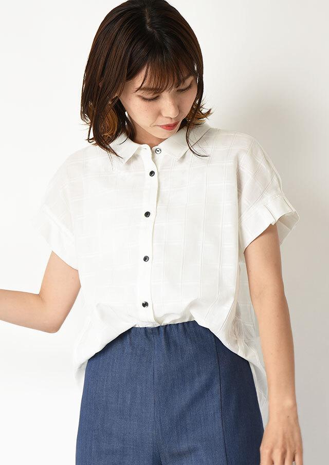 ◇◆コットンシルク透かしチェックタックスリーブシャツ【292-8112】【61】