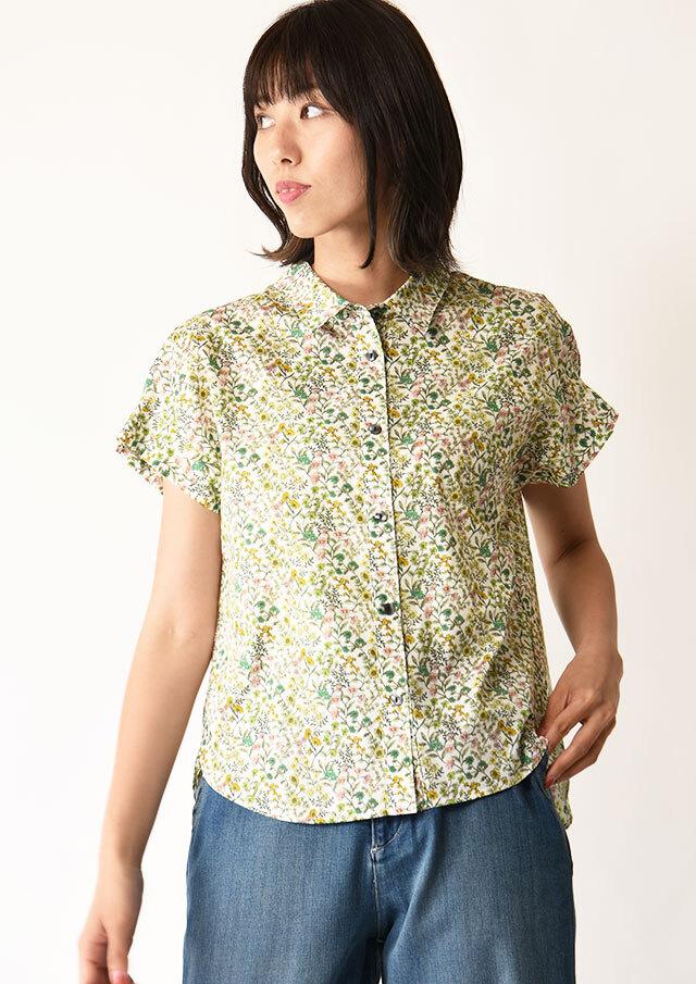 ◆コットンフラワープリントタックスリーブシャツ【292-8113】【61】