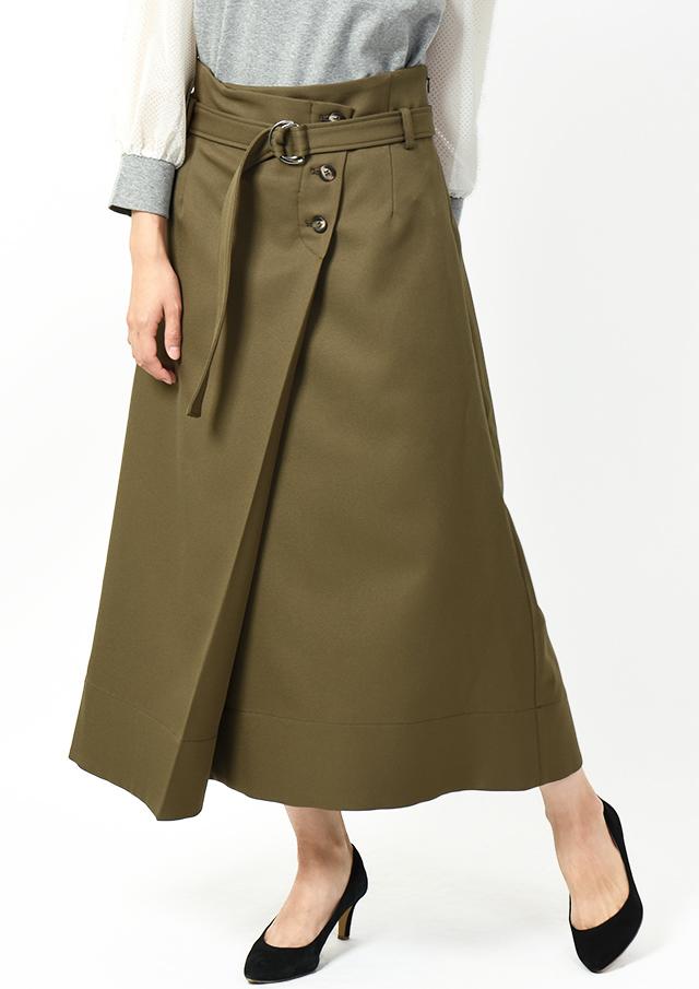 【2019】ダブルクロスベルト付きラップスカート【495010】【26】