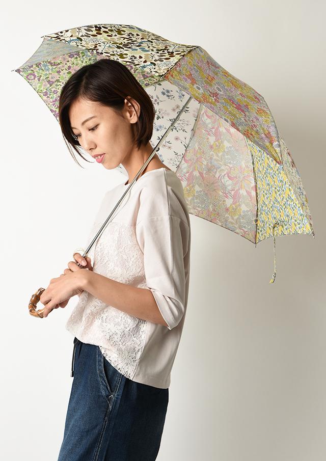 ◆リバティプリントパッチワーク折りたたみ傘【50038】【27】