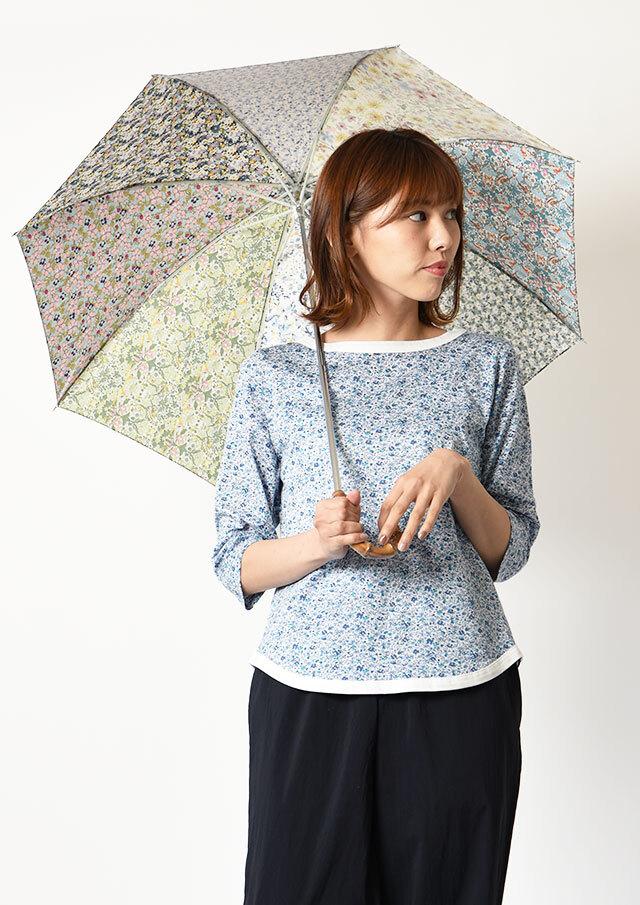 ◆リバティプリントパッチワーク折りたたみ傘【52056】【27】