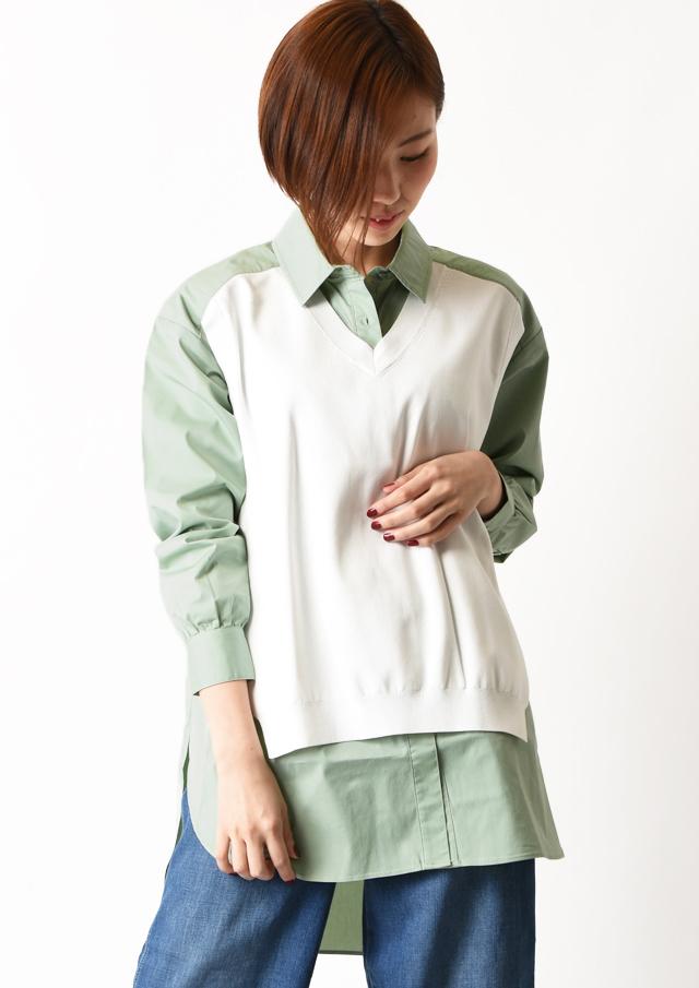 【2020】フロントニットロングシャツ【63-3608】【26】