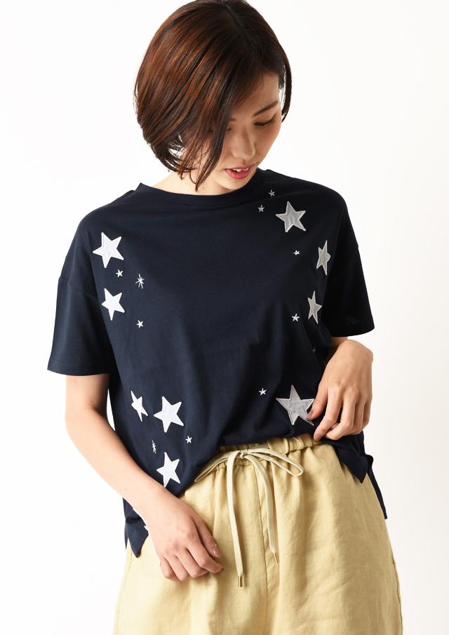 【2020】32天竺スターパッチワークTシャツ【H0060404】【26】