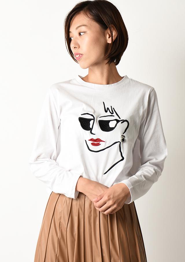 ◇◆天竺ビジュー付きロングTシャツ【H0060626】【26】