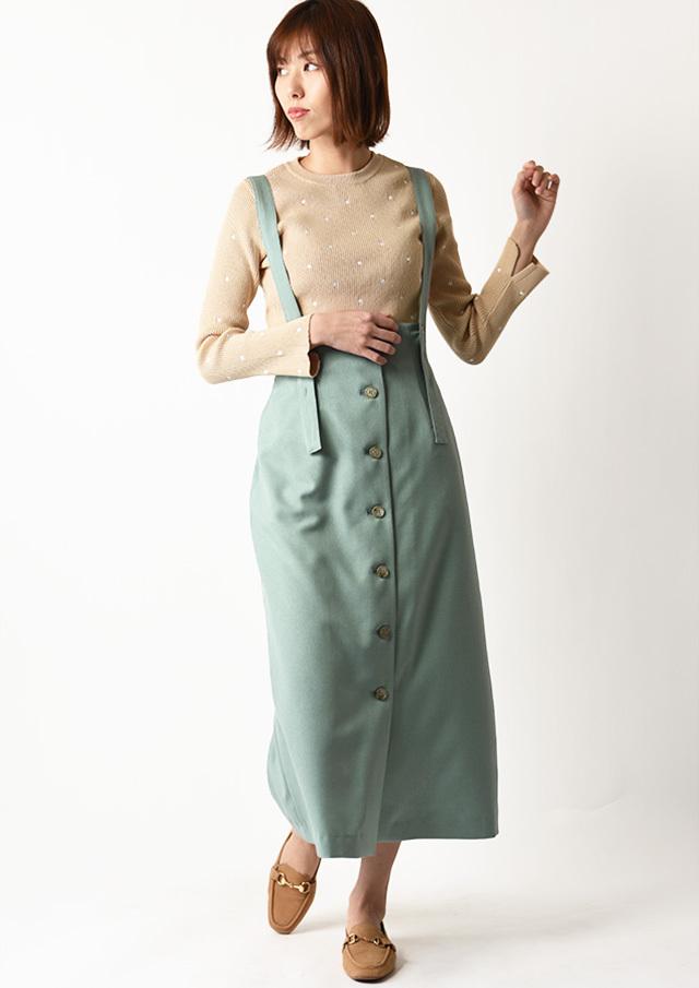 ◆フロントボタンサスペンダー付きスカート【H027023】【80】