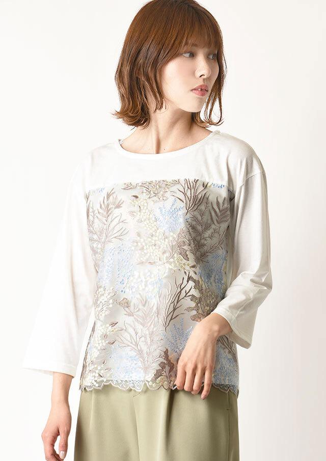 ◆フロントラッセルレース刺繍プルオーバーカットソー【H1241-413】【26】
