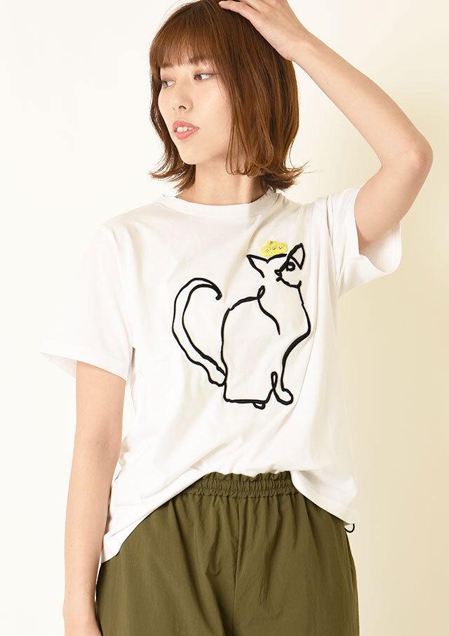◇◆天竺ネコ刺繍Tシャツ【H1411003】【26】