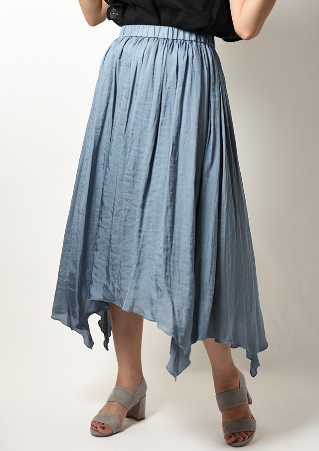 【2020】裾アシンメトリーギャザーロングスカート【H2023001】【80】